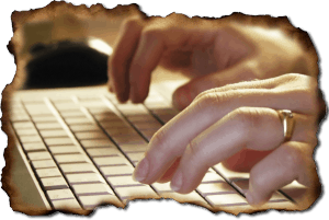 Get past writer's block: hands typing on keyboard.