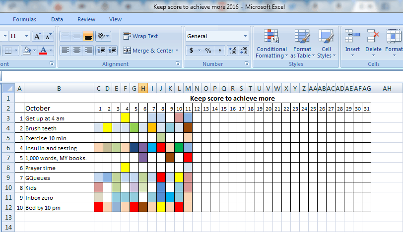 My keep score to achieve more chart. The colored squares mark successes; the white ones are times I failed to do it.