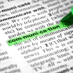 Improve your writing with snappier words. Image of dictionary definition of communication.