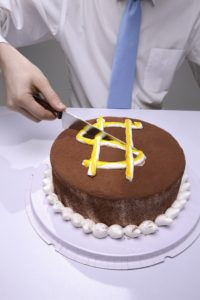 Are other authors competition? Image is of a cake with a dollar sign; only so much to go around.
