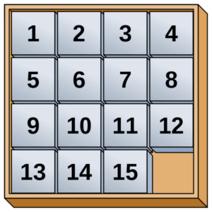 Image of sliding puzzle demonstrating that it's it's easier to move things around than to fit another one in the box. Get your book edited when it's ready, but book your slot now.