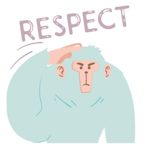 """Hat tip to parents with crazy schedules. This gorilla is saluting with the word """"respect"""" above it."""