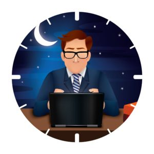 Hat tip to parents post. This image is of a man typing on a computer in the wee hours of the morning. A field of stars and the moon are behind him.