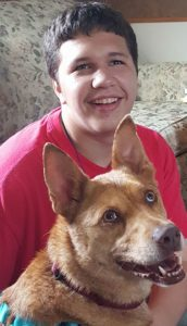 Brewster, a service dog, and his handler, Michael