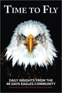 Time to Fly 48 Days Eagles book cover image features a large bald eagle, representing the 48 Days Eagles community.