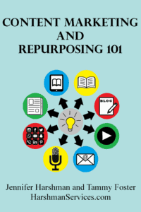 Content Marketing and Repurposing 101 book cover image has a lightbulb in the center with arrows pointing outward to different forms content can take such as blog posts, emails, and podcast episodes.