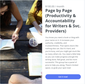 Online writing accountability group clickable image for signing up