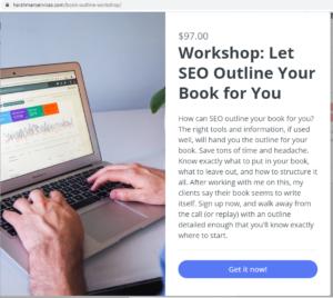 book outline workshop signup form screenshot